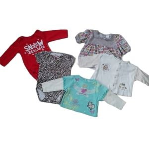 💗Lot of 5 Girl's Tops & Bodysuits, 3-6m